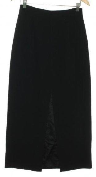 ANN TAYLOR Woman's Black Pencil Skirt Size 8 28x37 Long center front slit USA #AnnTaylor #Pencil