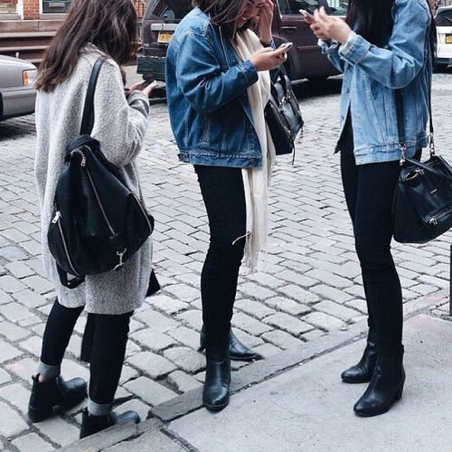 Black skinny With denim jacket