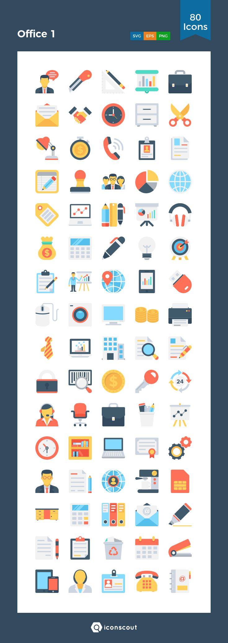 Office 1  Icon Pack - 80 Flat Icons