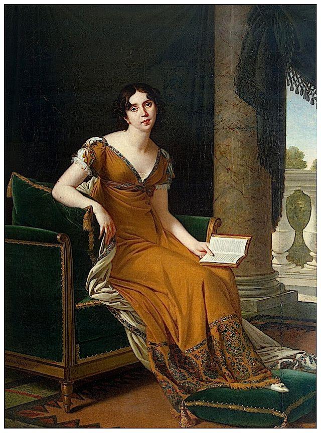 1800-1805 Baroness Elisabeth Alexandrovna Stroganoff by Robert Lefèvre (Hermitage) Dress made from a Cashmir shawl.