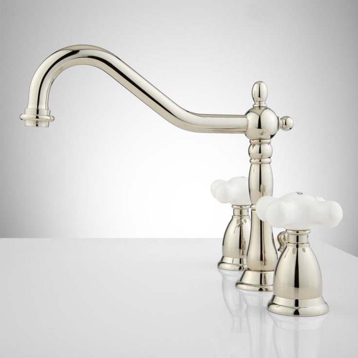 Image On Victorian Gooseneck Bathroom Faucet with Large Porcelain Cross Handles Bathroom Sink Faucets Bathroom