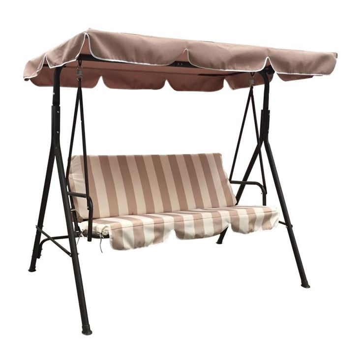 Jhoola 3 Seat Outdoor Swing Chair w Canopy in Brown | Buy Hanging Chairs