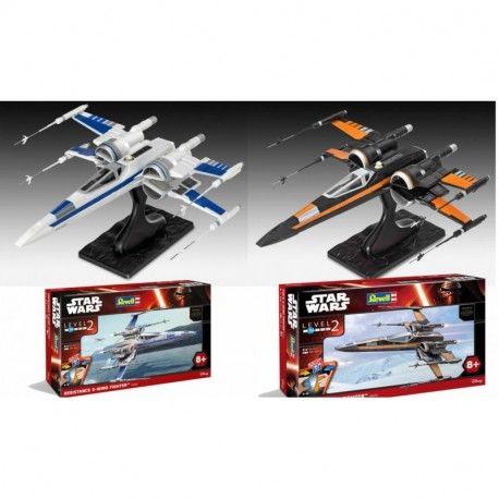 Pack dos maquetas Star Wars Episode VII Maqueta EasyKit Poe's y Resistance X-Wing Fighter 25 cm