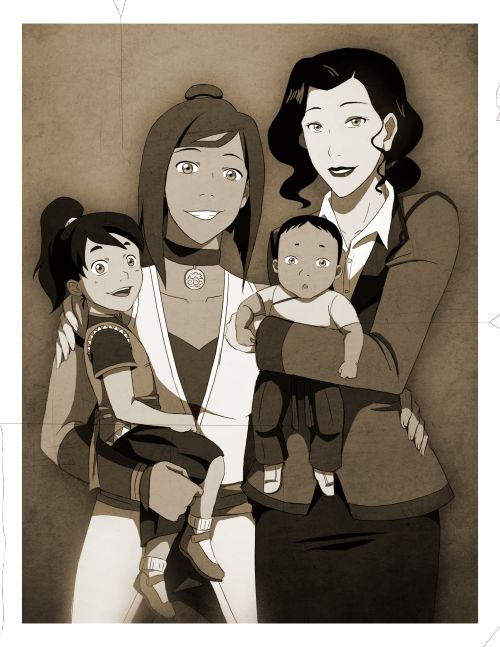 Family Portrait by sherbies and in that moment all of my Korrasami doubts were squahsed