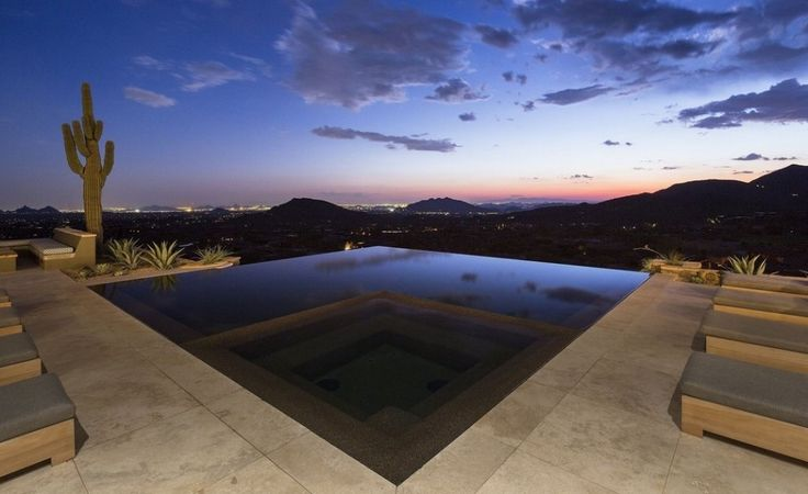 Interior Exquisite Arizona Desert Mountain Retreat With Comforting Views: Exellent Design Of Outdoor Swimming Pool In Nw House On The Hill Plus Eight Set Of Bed Pool As Long As Amazing Outdoor Flooring In New Type Of Marble Floor