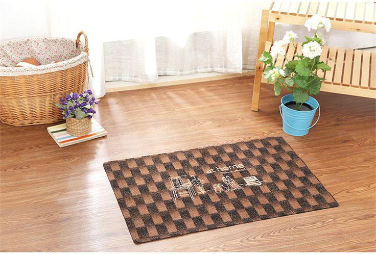 Modern Style Plaid Pattern Home Decor Floor Mat/Door Mat Embroidered Prints Anti-Slip Bedroom/Bathroon Rugs