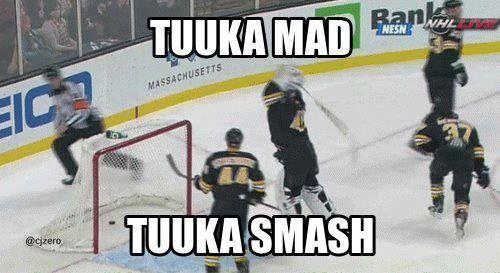 Tuukka Rask angry. Tuukka Smash.