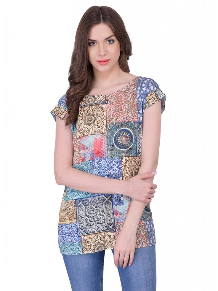 Multicolor Casual Georgette Printed Sleeveless Top