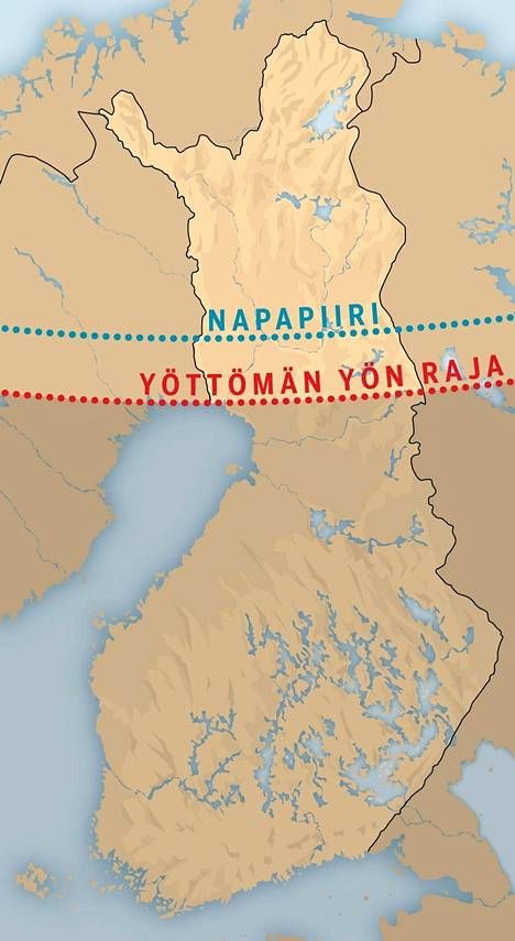 The no-night limit runs through the Kemi-Kuusamo axis