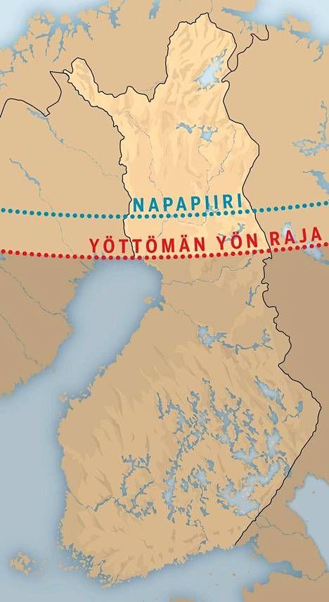 Yöttömän yön raja kulkee Kemi–Kuusamo-akselilla.