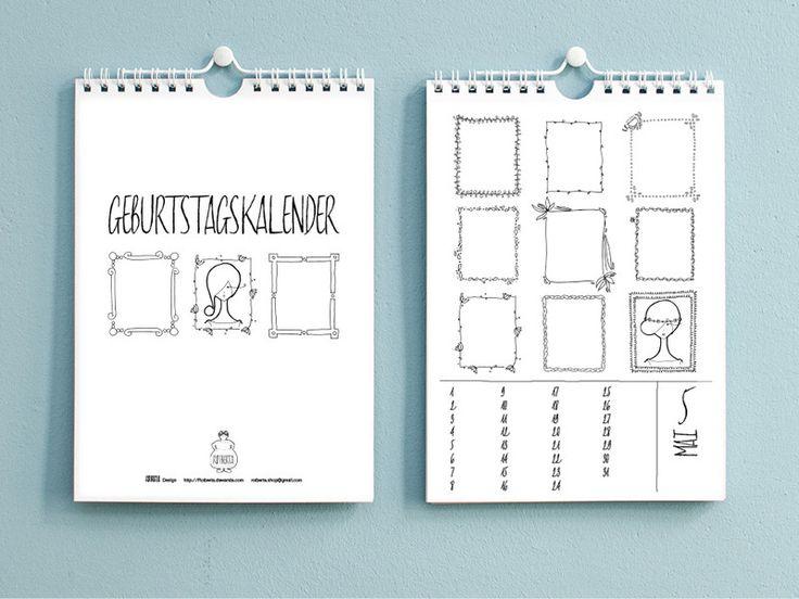 Hier findest du einen liebevoll gestalteten Foto-/Bastelkalender in Din A4. Auf jeder Kalenderseite befinden sich jeweils 9 handgezeichnete Rahmen, die besonders geeignet sind für Passfotos (Größe...