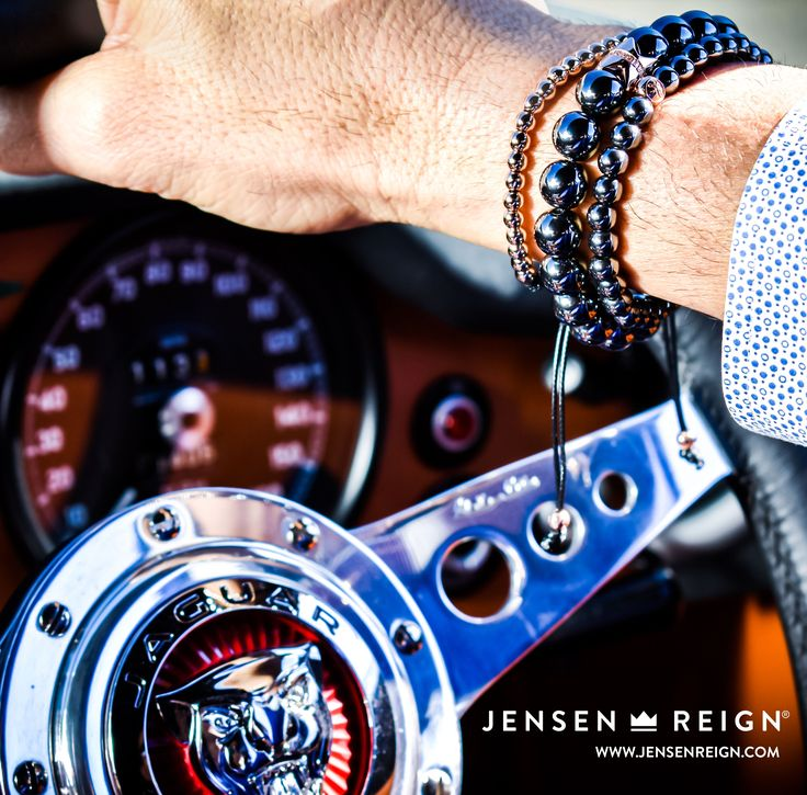 "Bracelets by Jensen Reign - ""at the wheel of E-type Jaguar"". Hematite bracelets featuring solid 925 silver finished in 18kt Rose Gold"