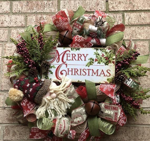 Burlap Santa Merry Christmas wreath Extra Large burlap Christmas Holiday wreath
