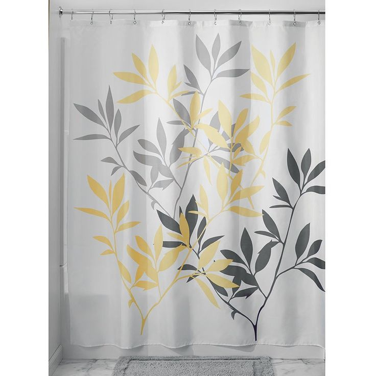 Gray and Yellow Shower Curtain, Fabric Shower Curtain, Luxury Shower Curtain…