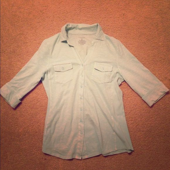 Turquoise shirt 97% cotton, turquoise button up. Only worn once Sonoma Tops Button Down Shirts