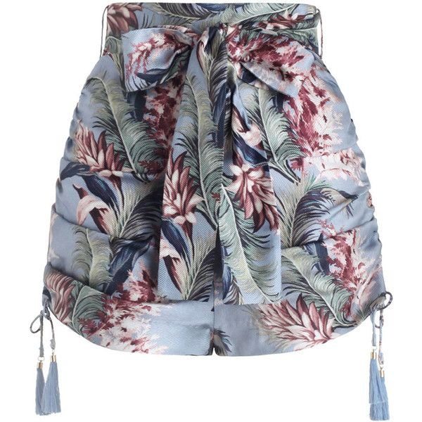 ZIMMERMANN Winsome Ruched Short ($480) ❤ liked on Polyvore featuring shorts, high waisted shorts, floral shorts, tassel shorts, ruched shorts and short shorts