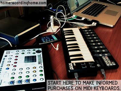 Start here to make informed purchases on MIDI keyboards.  http://homerecordinghome.com/my-best-midi-keyboard-is-your-new-best-friend/