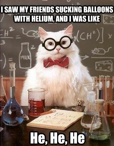 Funny science lab cat Helium joke meme image
