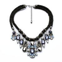 N00872 мода бижутерия старинные серебряные черная ткань веревка сеть себе колье ожерелье женщины мотаться подвески