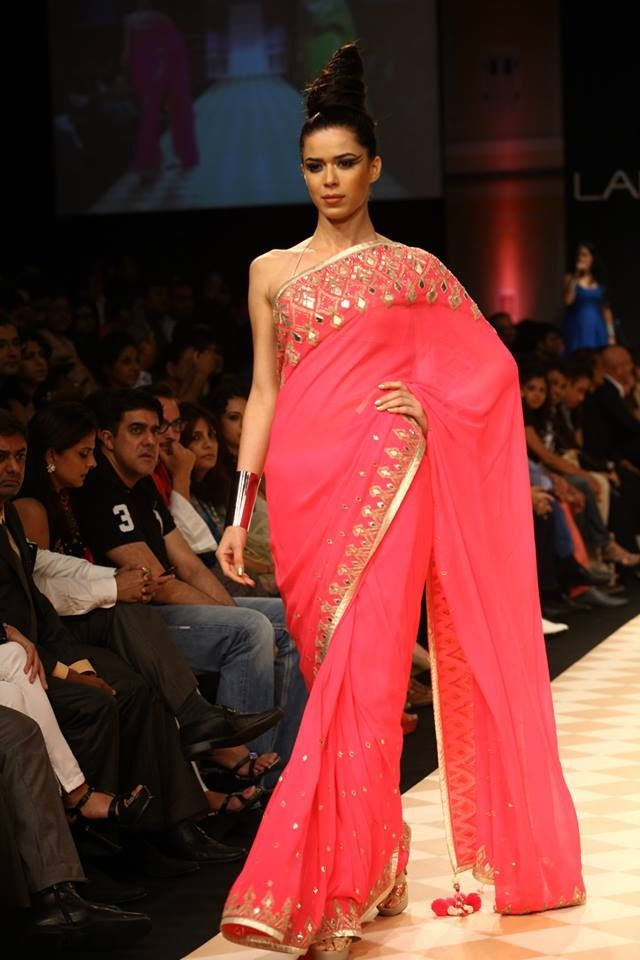 beautiful #Saree in Coral by http://www.AnitaDongre.com/
