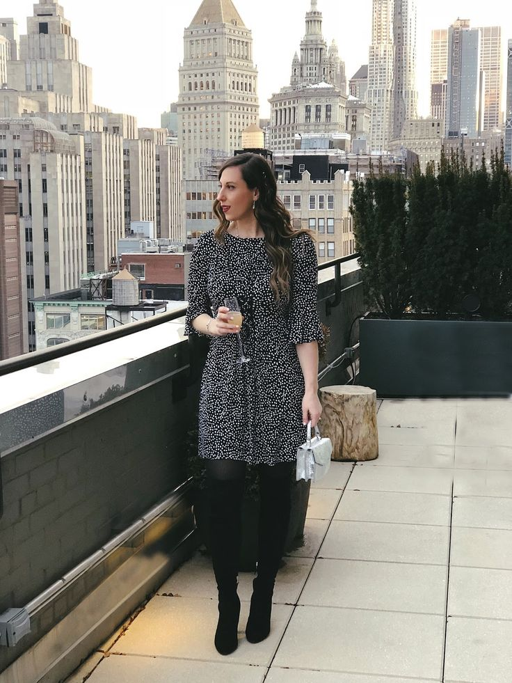 New York Rooftops in Winter | Polka dot dress | Winter dress outfit | Over the knee boots | Over the knee boots outfit | NYC rooftops | NYC blogger | FASHinNY