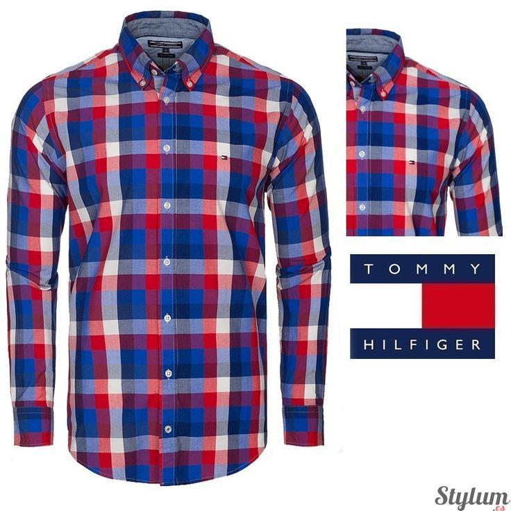Camisa de cuadros para hombre de Tommy  Hilfiger en colores rojos y azules…