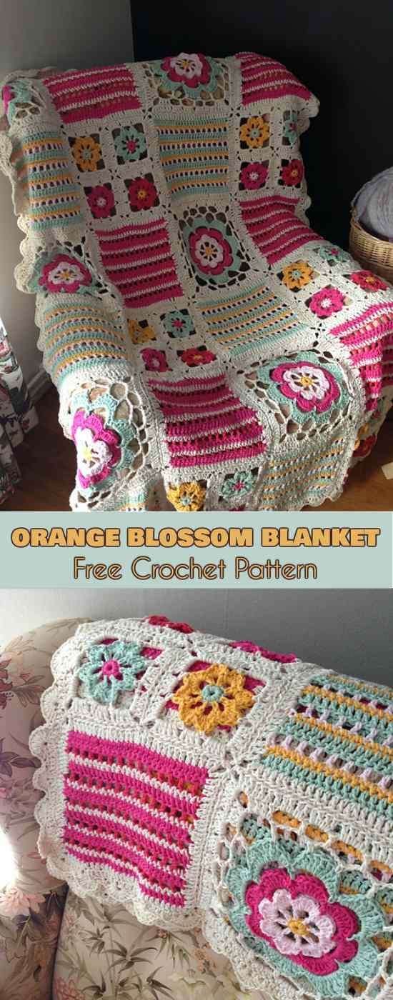 Orange Blossom Blanket [Free Crochet Pattern in PDF] ONLY FREE crocheting patter…