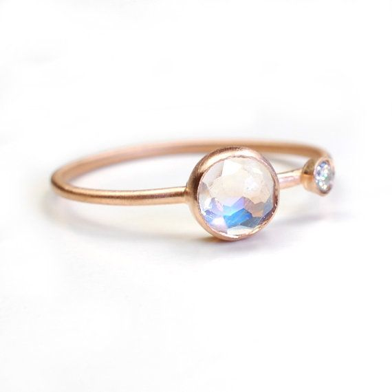 Rose Cut Moonstone Ring, Moonstone and Diamond Ring, Moonstone Ring, Asymmetrical, Blue Flash, Rose Gold Ring, June Birthstone, Nixin on Etsy, $220.00
