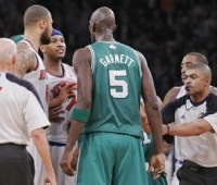 We already showed you how Carmelo Anthony and Kevin Garnett picked up double technical during Monday night's Celtic victory in Madison Square Garden. We told you how Anthony was waiting by the Celtics locker room to continue things after the game. Now here is video via CSNNE.com showing Anthony (in the red ski cap) waiting…
