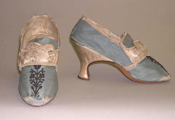 Shoes Date: ca. 1776 Culture: European Medium: silk, leather Dimensions: Length: 8 3/4 x 2 3/4 in. (22.2 cm, 2 3/4 in.) Credit Line: Gift of Mrs. F.D. Millet, 1913 Ac