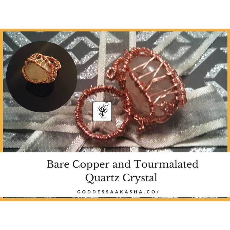 Bare #Copper and #Tourmalated #Quartz #Crystal #Ring Found mostly in Brazil, this Tumbled quartz has well defined needles of #Tourmaline embedded inside of the crystal. *Deflects negative en…