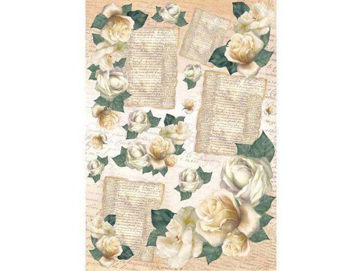 "Декупажнst картs Stamperia DFG320 ""Белые розы и старые письма"", regbnm"