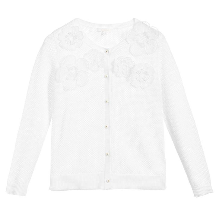 Chloé White Floral Appliqué Cardigan at Childrensalon.com
