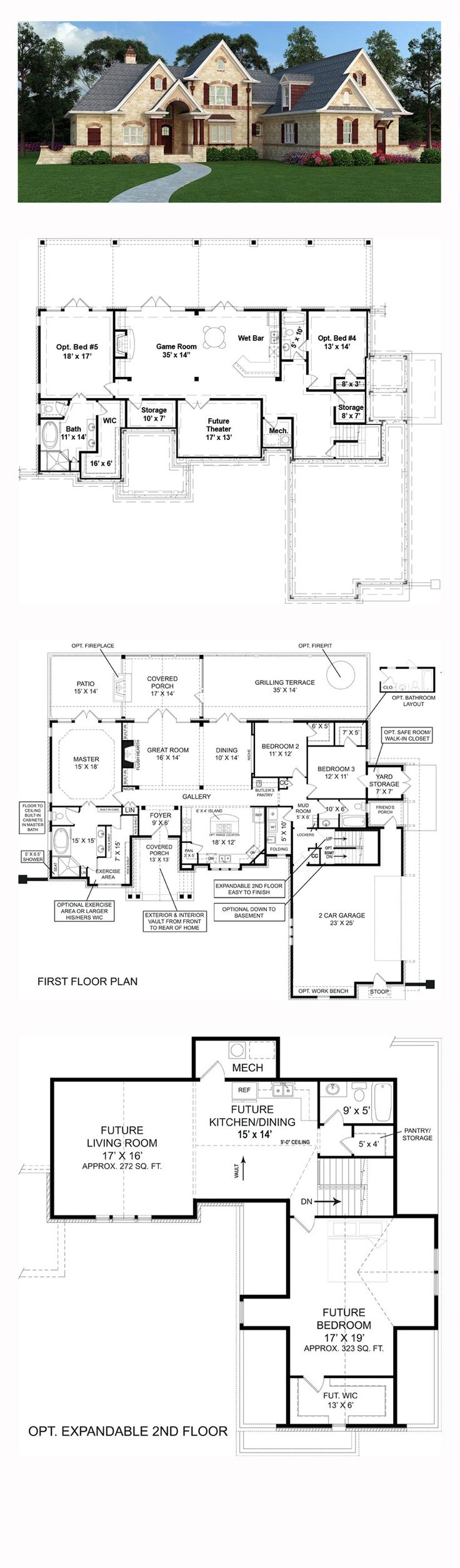 European House Plan 72166 | Total Living Area: 1999 sq. ft., 3 bedrooms and 2 bathrooms. #europeanhome