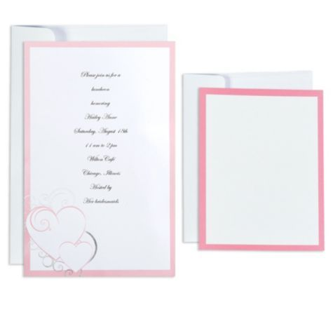 Awesome Pink U0026 Silver Hearts Printable Wedding Invitations Kit   Party City