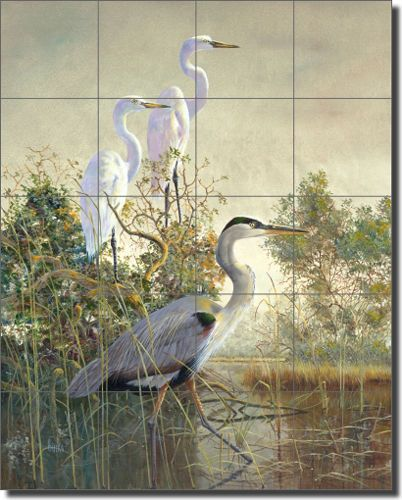Ceramic Tile Mural Backsplash Binks Egret Heron Bird