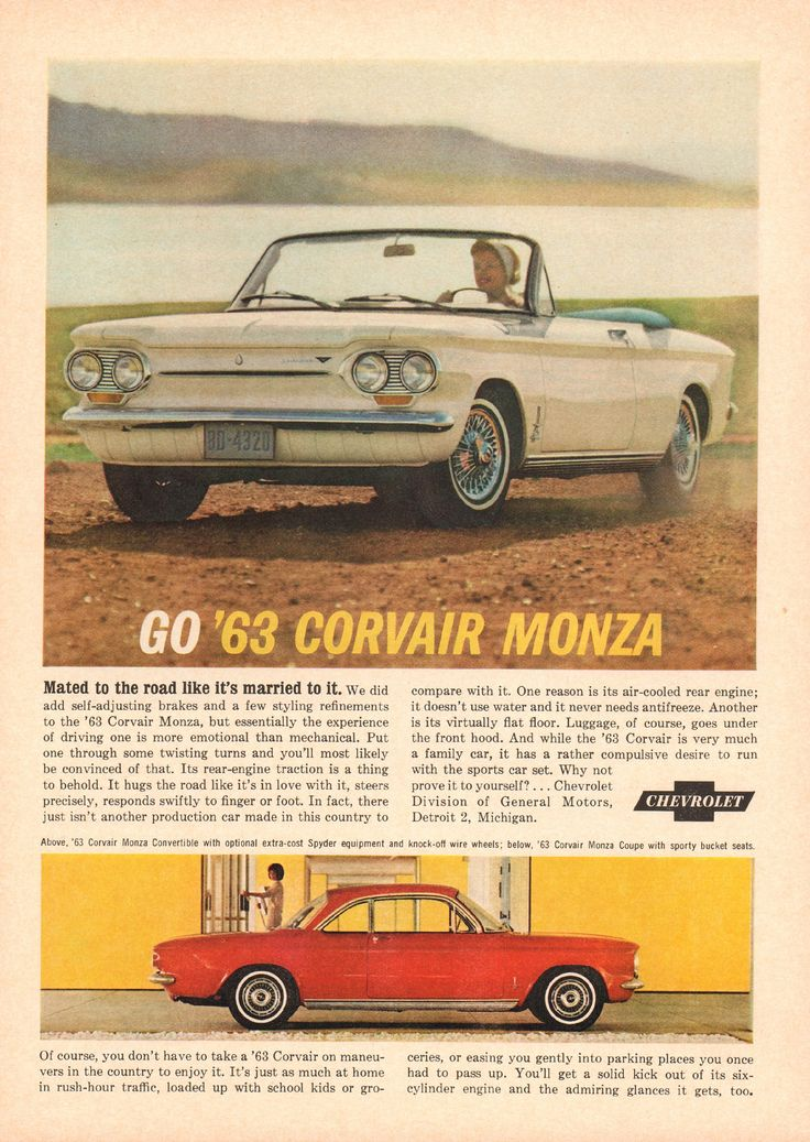 1963 chevrolet corvair monza advertisement newsweek november 19 1962