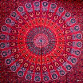 Narzuta bawełniana - duża mandala - karmazyn