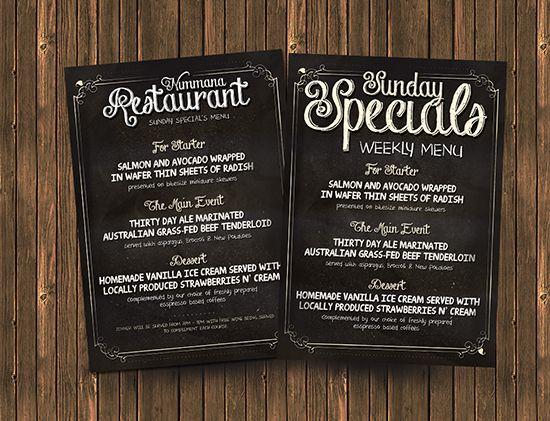 free chalk board menu psd flyer template