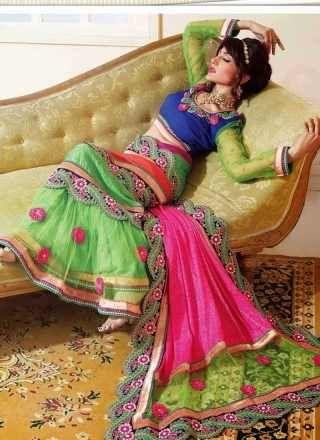Sea Green And Pink Net Stylish Lehenga Saree http://www.angelnx.com/Sarees/Lehenga-Sarees