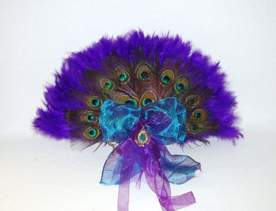 Gorgeous Handheld PEACOCK Purple Turquoise by LizAnnFlorals