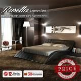 Rosetta King Size Leather Bed - Black