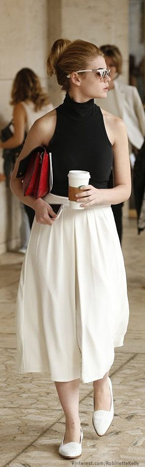 Street Style, Fashion Week, midi skirt, loafers, sleeveless top. classy, sophisticated, simple and classic, chic and classic classic and modern, simple chic