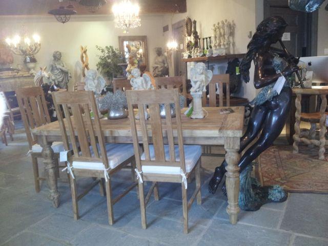Teak Dinning Set with rectangular teak table and high back teak chairs