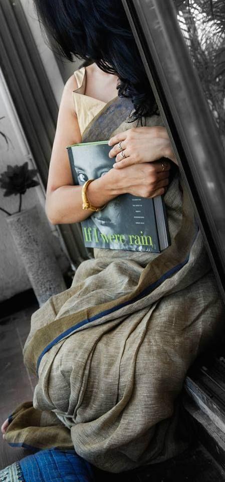 Handwoven Linen Saree by Anavila Misra