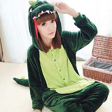 Kigurumi Pijamas Dinossauro Collant/Pijama Macacão Festival/Celebração Pijamas Animal Verde Escuro Miscelânea Lã Polar Kigurumi Para de 1492779 2016 por €118.27