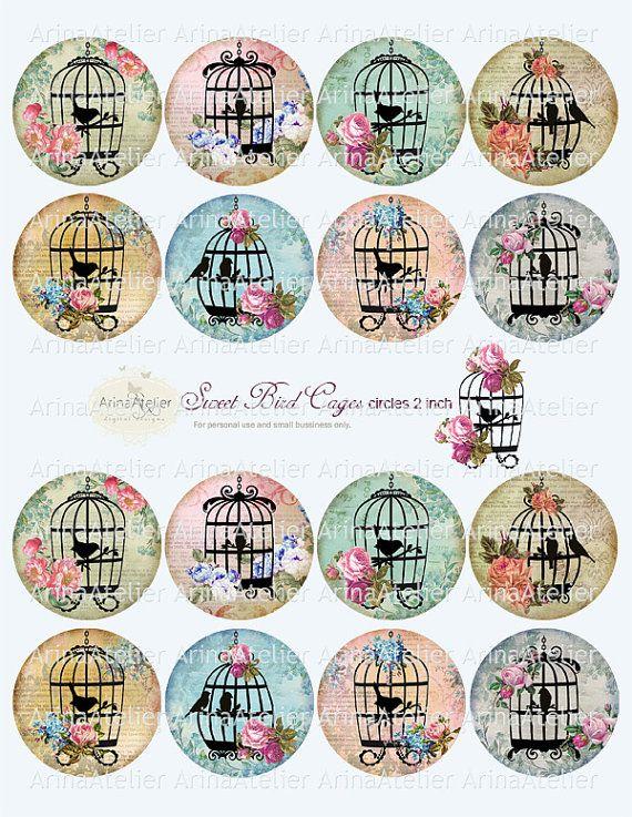 Sweet Bird Cages Circle micro slides 2 by arinaatelierDigital