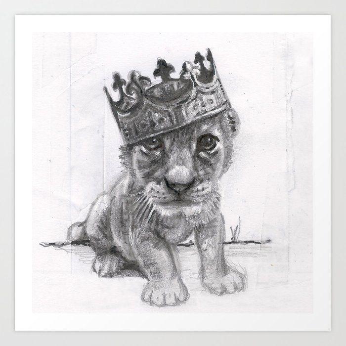 Buy Baby Lion Art Print by aqueli  Worldwide shipping