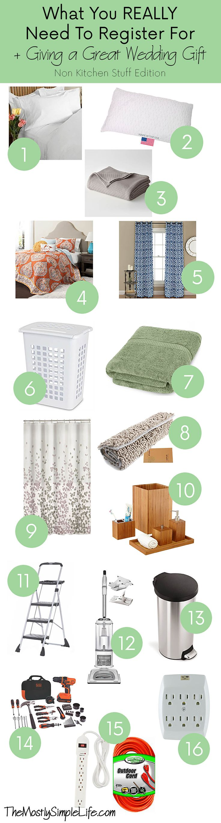 What you REALLY need to register for. The essentials, so that you don't end up with tons of wedding gifts, but are missing the most important things. + Giving a great wedding gift that the bride and groom will use all the time! Minimalist home supplies. What you really need for your home.