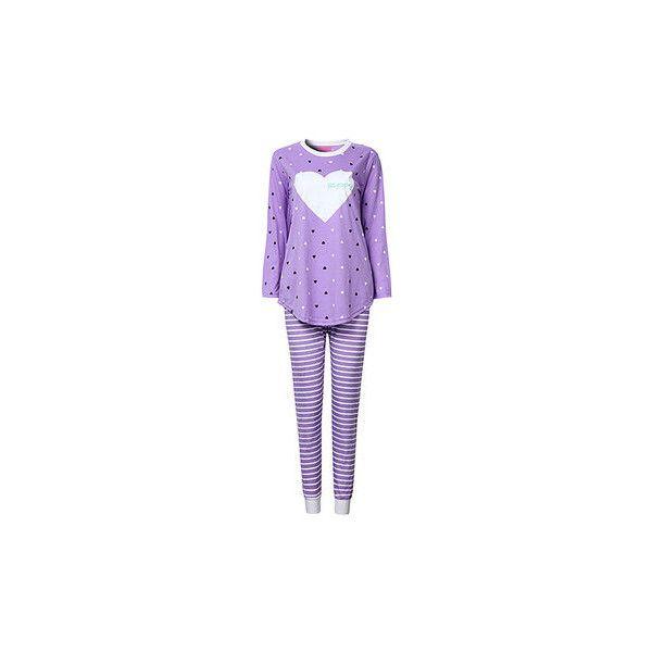 Cosy Round Neck Heart Printing Nightwear Sets Long Sleeve Pajamas ($16) ❤ liked on Polyvore featuring intimates, sleepwear, pajamas, purple, cotton pyjamas, long sleeve sleepwear, long sleeve cotton pajamas, long sleeve pyjamas and purple pajamas